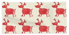 Beach Towel featuring the painting Red Reindeer Pattern by Maria Langgle