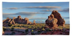 Beach Towel featuring the photograph Red Rock Formations Arches National Park  by Nathan Bush