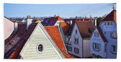 Beach Towel featuring the photograph Red Roofs In Donaueschingen, Germany by Tatiana Travelways