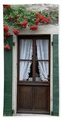 Red Rose Door Beach Towel