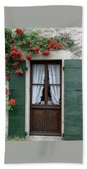 Red Rose Door Beach Sheet