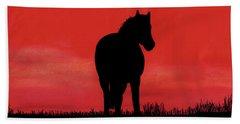 Red Sunset Horse Beach Towel