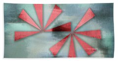 Red Triangles On Blue Grey Backdrop Beach Towel
