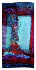 Beach Towel featuring the mixed media Red Window by Mimulux patricia No