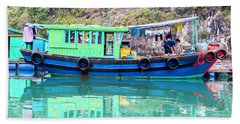 Reflections In Halong Bay, Vietnam Beach Towel