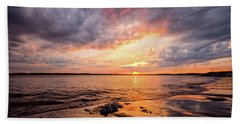 Beach Towel featuring the photograph Reflect The Drama, Sunset At Fort Foster Park by Jeff Sinon