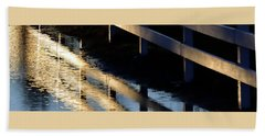 Beach Towel featuring the photograph Reflected Fence At Sunrise P by Jerry Sodorff
