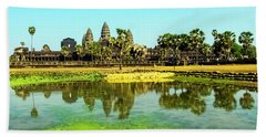 Reflections At Angkor Wat, Cambodia Beach Towel
