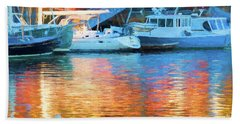 Reflections At Dusk In Camden Harbor, Maine Beach Towel