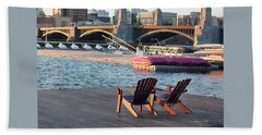 Relaxing On The River Beach Towel