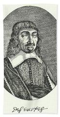 Rene Descartes, French Philosopher Engraving  Beach Towel