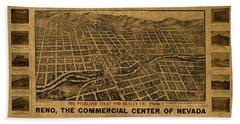 Reno Nevada Vintage City Street Map 1907 Beach Towel
