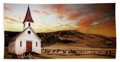 Reyniskirkja Lutheran Church In Iceland Beach Towel