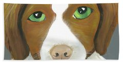 Beach Towel featuring the painting Riley by Suzy Mandel-Canter