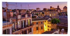 Beach Towel featuring the photograph Rione Pigna's Rooftops by Fabrizio Troiani
