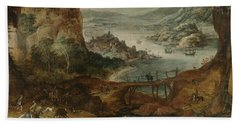 River Landscape With Wild Boar Hunt Beach Towel
