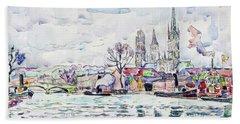 River Scene, Rouen - Digital Remastered Edition Beach Towel