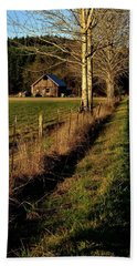 Beach Towel featuring the photograph Road To The Barn by Jerry Sodorff