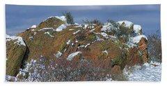 Beach Towel featuring the photograph Rock Snow Sky by Jon Burch Photography
