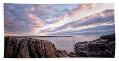 Rocky Coast At Daybreak . Beach Towel