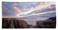 Beach Towel featuring the photograph Rocky Coast At Daybreak . by Jeff Sinon