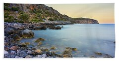 Beach Towel featuring the photograph Rocky Coast Near Monemvasia by Milan Ljubisavljevic