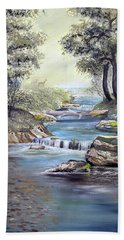 Beach Towel featuring the painting Rocky Stream by Deleas Kilgore