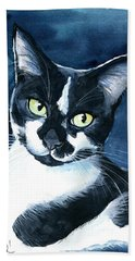 Rollie Tuxedo Cat Painting Beach Towel