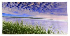 Rolling Blue Sky Over Lake Superior Beach Towel