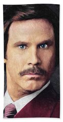 Ron Burgundy Beach Towel