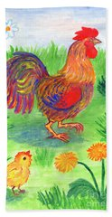 Rooster And Little Chicken Beach Towel