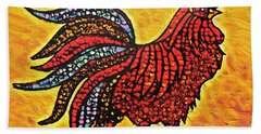 Rooster In The Moring Beach Towel
