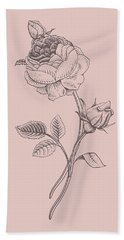 Rose Blush Pink Flower Beach Towel