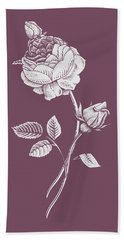 Rose Purple Flower Beach Towel