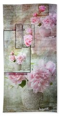Beach Towel featuring the digital art Roses On Roses by Jacqui Boonstra
