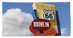 Route 66 Drive-in Sign Beach Towel