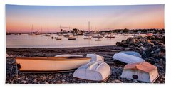 Beach Towel featuring the photograph Rowboats At Rye Harbor, Sunset by Jeff Sinon