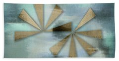 Rusted Triangles On Blue Grey Backdrop Beach Sheet