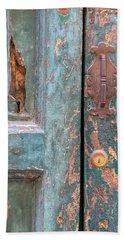 Rustic Green Door Of Cortona Beach Towel