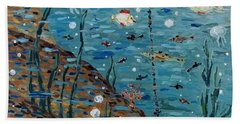 Beach Towel featuring the painting Safe Harbor by Maria Langgle