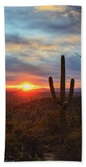 Saguaro Cactus And Tucson At Sunset Beach Towel
