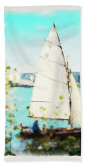 Sailboat On The River Watercolor Beach Towel