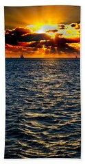 Sailboat Sunburst Beach Towel
