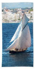Sailing At Cannes Portrait Two Beach Towel