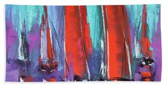 Beach Towel featuring the pastel Sailing by David Patterson