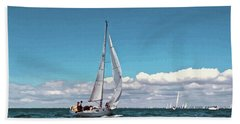 Sailing Regatta On A Brisk Summer's Day Beach Sheet