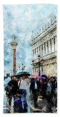 Saint Theodore Sculpture At Saint Mark Square In Venice, Italy - Watercolor Effect Beach Towel