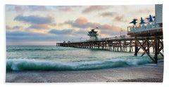 A San Clemente Pier Evening Beach Towel