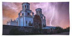 San Xavier Mission Lightning Beach Towel