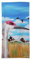 Sandhill Crane Teton View Beach Towel